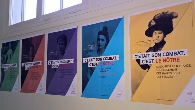 Quelques affiches sur les combats des femmes pour leurs droits.